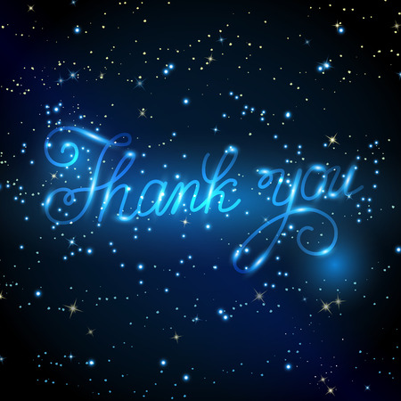 thanks: Hand drawn calligraphic design for sign Thank you.Inscription on background of starry sky