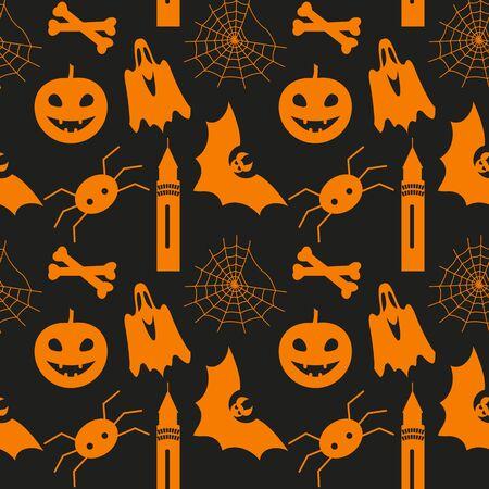 halloween spider: Halloween seamless pattern with pumpkin, bat, ghost, spider and web