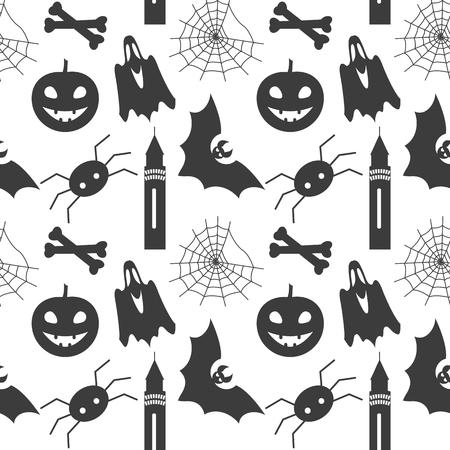 spider web: Halloween seamless pattern with pumpkin, bat, ghost, spider and web
