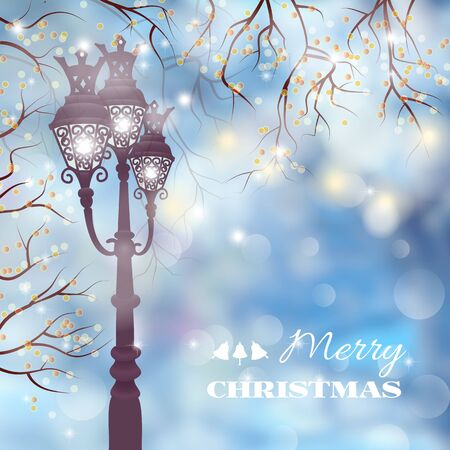 street lamp: Christmas vintage card with street lamp on defocused background