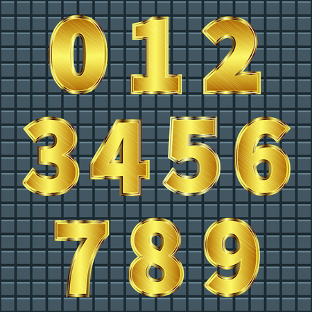 Set of shiny gold metal numbers on dark background grid Illusztráció