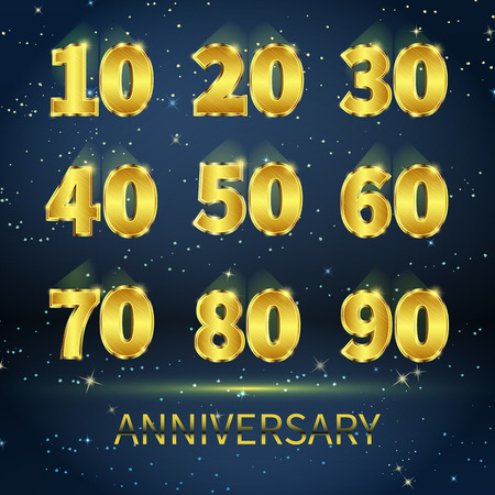 Set signs the anniversary of gold metal numbers against dark starry sky