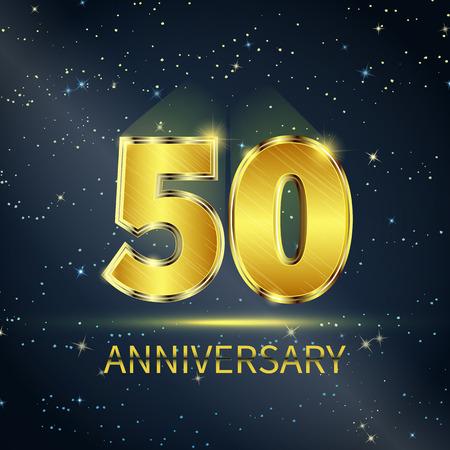 Postcard 50 jaar jubileum gouden nummers op donkere sterrenhemel Stock Illustratie
