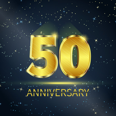anniversary backgrounds: Postcard 50 years anniversary of golden numbers on dark starry sky