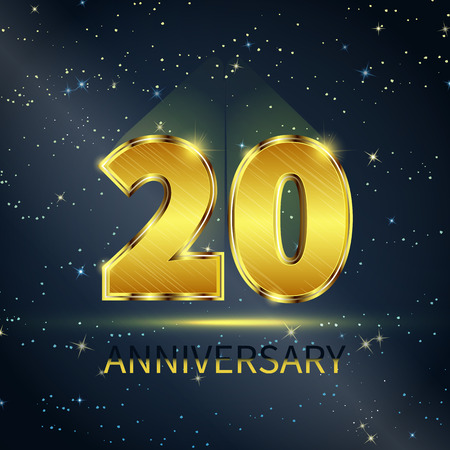 Postcard 20 years anniversary of golden numbers on dark starry sky