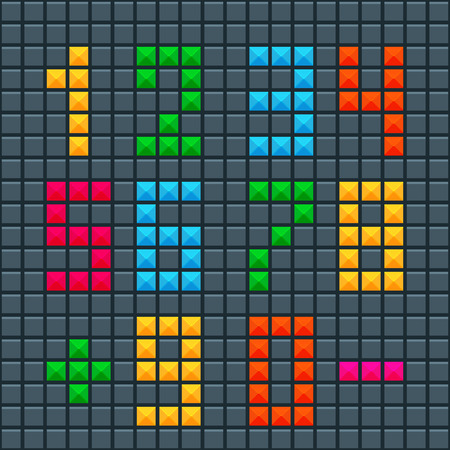 tetris: Collection of letters of alphabet in style of Tetris effect on dark background.Set of childrens numbers