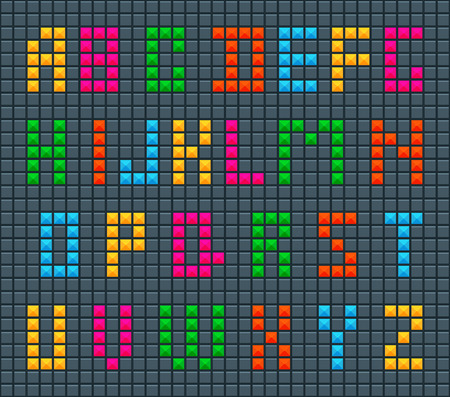 Collection of letters of alphabet in style of Tetris effect on dark background.Set of childrens ABC Illusztráció