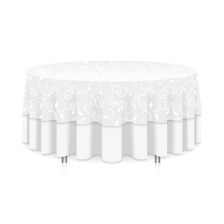 a tablecloth: Blank round table with white tablecloth isolated