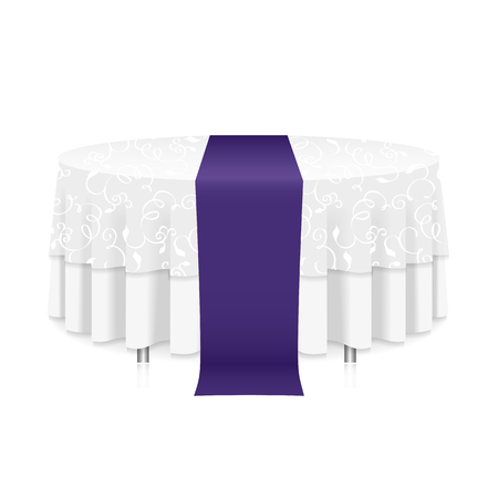 Isolated blank round table with white tablecloth and a purple ribbon for celebration isolated
