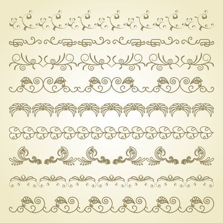 vintage pattern background: Set of border decoration elements patterns on beige background Illustration