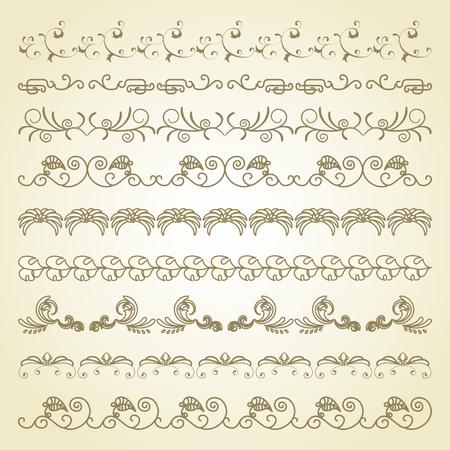 floral pattern: Set of border decoration elements patterns on beige background Illustration