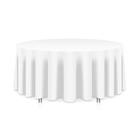frill: Blank round table with white tablecloth isolated