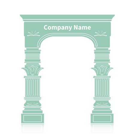 ionic: Realistic antique ionic column marble arch background royal architecture Illustration