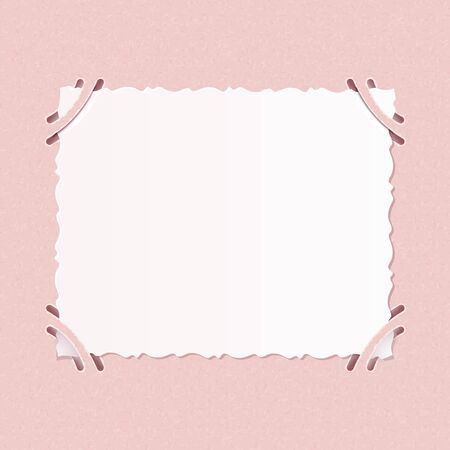 formats: Older realistic photographs with rough edges inserted into corners square formats on pink album page.