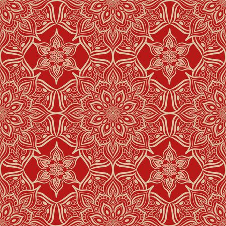 red wallpaper: Damascus seamless pattern of floral ornament on red background