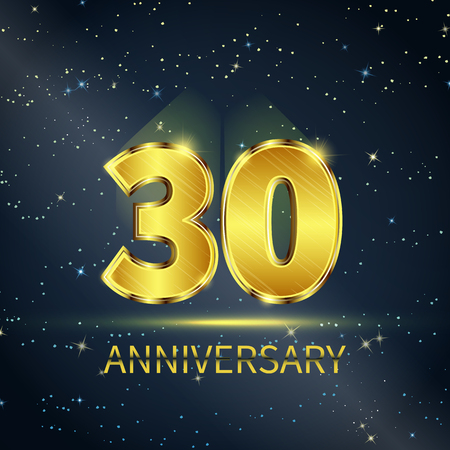 30 years: Postcard 30 years anniversary of golden numbers on dark starry sky