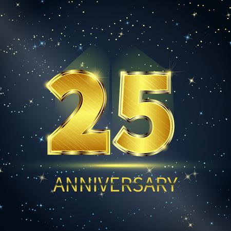 Postal 25 años aniversario de números de oro en el cielo estrellado oscuro Foto de archivo - 47925441