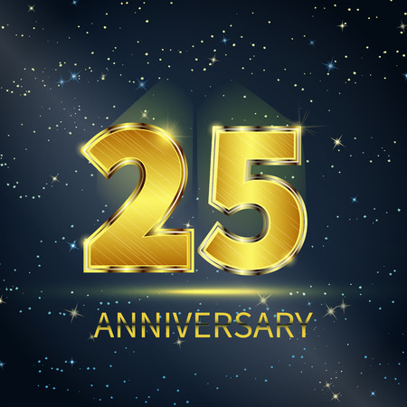 Postcard 25 years anniversary of golden numbers on dark starry sky Çizim