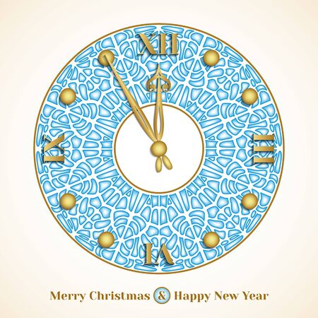12 days of christmas: Christmas greeting card with clock on background of cracked pieces of ice