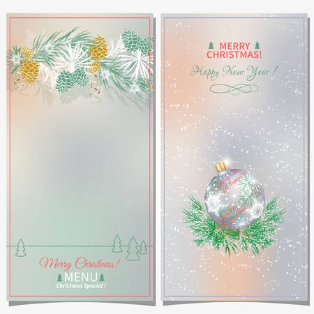 Two cards or Christmas menu. Pine branches, cones, balls in various colorful color