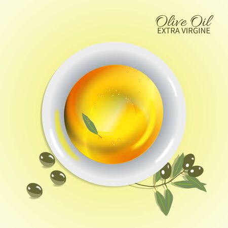 vesicles: A cup of olive oil with reflection and branch olives.Emblem. Illustration