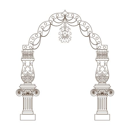 luxuriously: Fantasy luxuriously decorated archway on white background.Travel vacation poster. Illustration