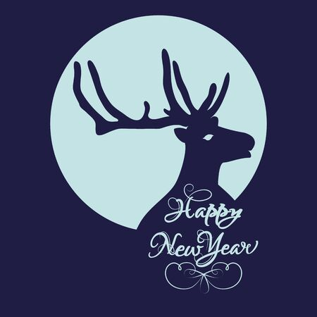 silhouetted: Christmas card with deer and antlers silhouetted against blue circle