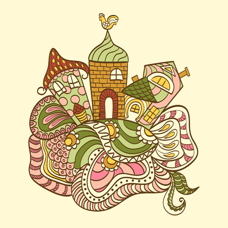 houses: Hand drawn cartoon houses style zentangl colorful