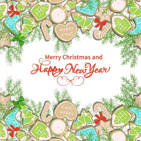 christmastree: Card happy new year with collection of gingerbread and Christmas-tree branches Illustration