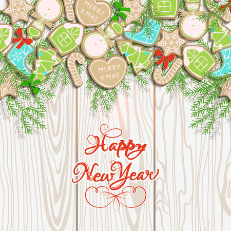realistically: Card happy new year with collection of gingerbread and Christmas-tree branches on background of wood texture