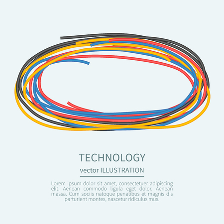 power cord: Power cord from the multicolored wires with place for text Illustration