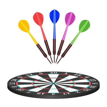dart board: Target. Success concept. 3d illustration dart board with arrows in center