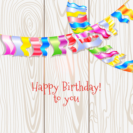 Birthday Card With Garland Multicolored Bunting Flags Against