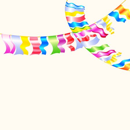 bunting flags: Garland multicolored Bunting flags on white background