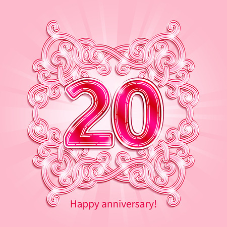 pink wedding: Postcard 20 years anniversary of pink numbers against background of ornament in style of Art Deco Illustration