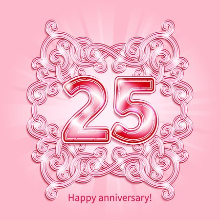 jubilees: Postcard 25 years anniversary of pink numbers against background of ornament in style of Art Deco Illustration