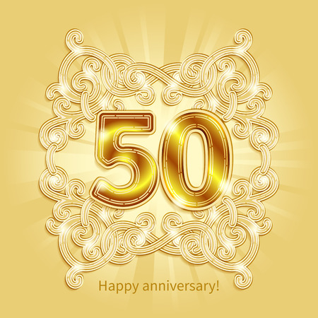 50 years anniversary: Postcard 50 years anniversary of gold numbers against background of ornament in style of Art Deco Illustration