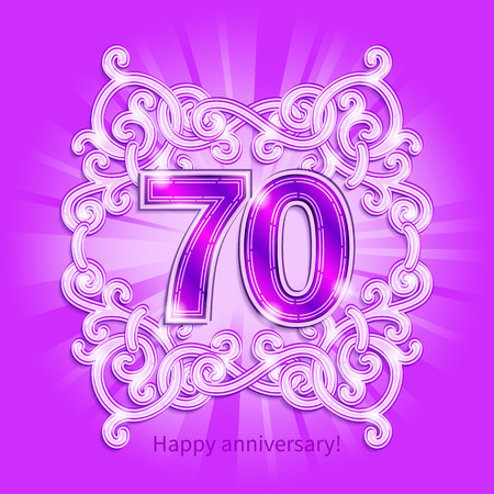 70 years: Postcard 70 years anniversary of numbers against background of ornament in style of Art Deco