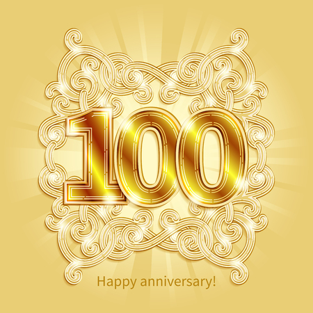 gold numbers: Postcard 100 years anniversary of gold numbers against background of ornament in style of Art Deco