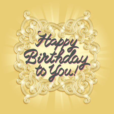 embellishments: Happy birthday calligraphic embellishments against background of ornament in style of Art Deco