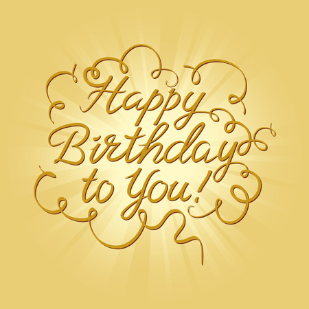 embellishments: Happy birthday calligraphic embellishments against gold background with rays Illustration