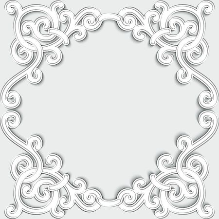 Luxury white frame ornament art deco isolated on white background