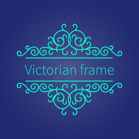 Luxury Victorian  baroque ornament on dark blue background