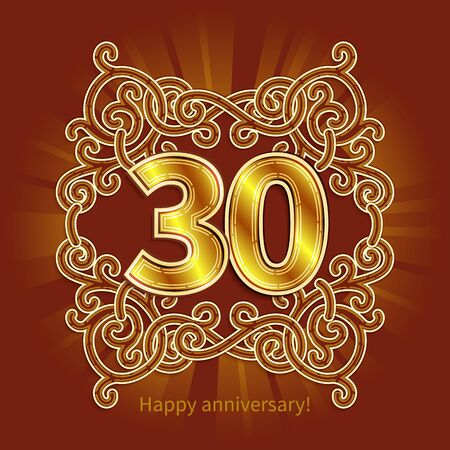 30 years: Postcard 30 years anniversary of numbers against background of ornament in style of Art Deco Illustration