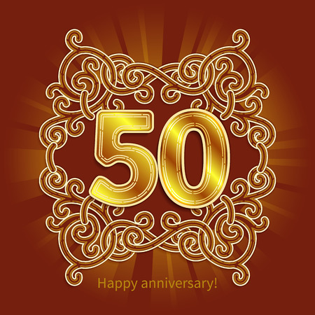 jubilees: Postcard 50 years anniversary of gold numbers against background of ornament in style of Art Deco Illustration