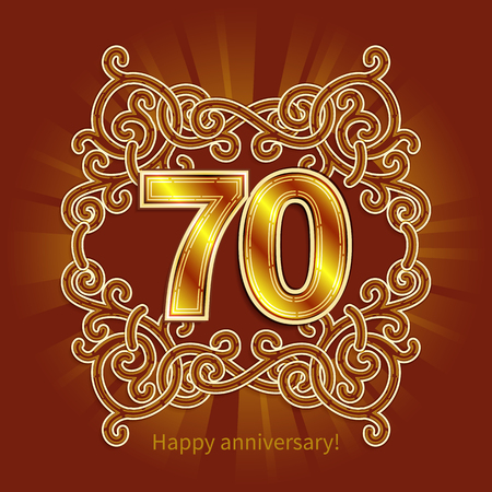 Postcard 70 years anniversary of numbers against background of ornament in style of Art Deco