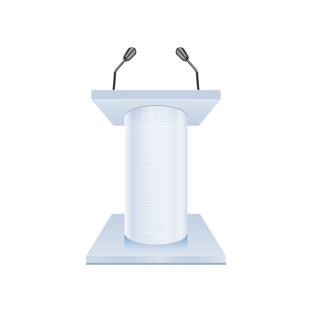 rostrum: Podium Tribune Rostrum Stand with Microphones isolated on white background