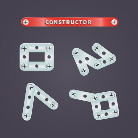 metal parts: Set of metal parts constructor for childrens games Illustration