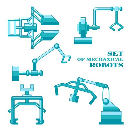 lever arm: Set of mechanical industrial robots isolated on white background Illustration