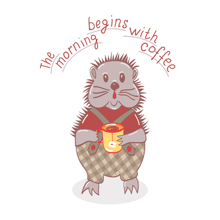 cute graphic: Hand drawn cartoon hedgehog is drinking tea.Design for T-shirts.